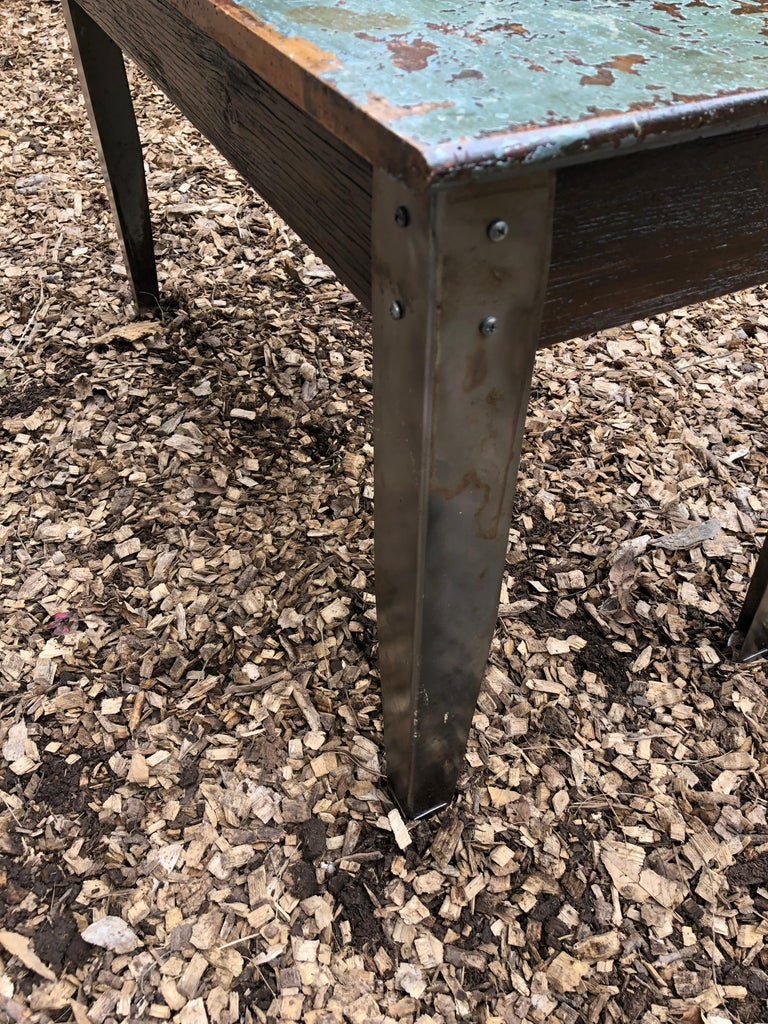 Cool Industrial Distressed Wood Table with Metal Legs For Sale 2