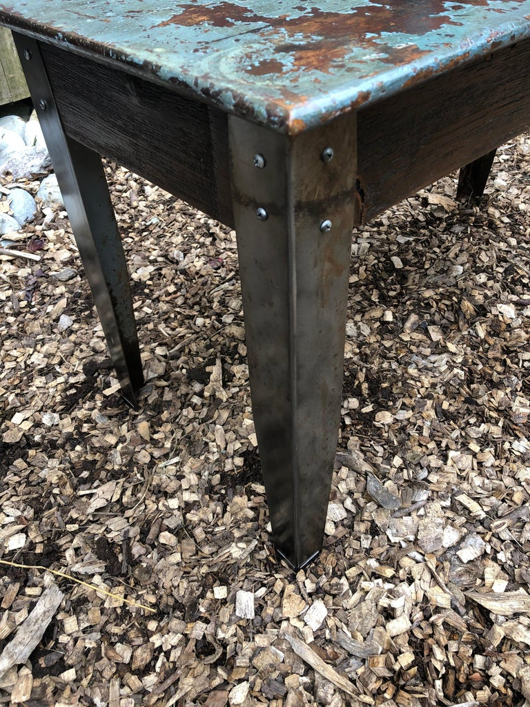 Cool Industrial Distressed Wood Table with Metal Legs For Sale 3