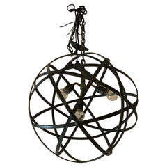 Cool Industrial Modern Steel & Iron Spherical Orb Chandelier Pendant