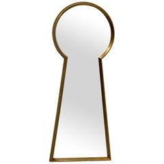Cool Large Mid-Century Modern Keyhole Shaped Mirror