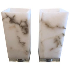 Cool Marble Cubes on Lucite Bases Table Lamps