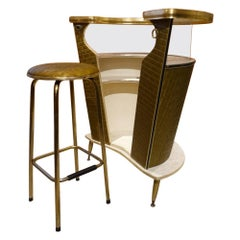 Cool Matching Midcentury Home Bar and Barstool