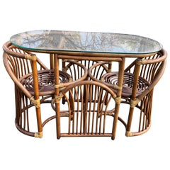 Cool Mid-Century Modern Bentwood and Rattan Dining Set