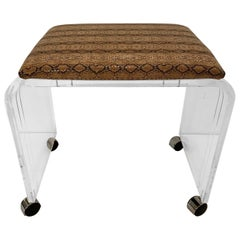 Cool Mid-Century Modern Lucite and Faux Snakeskin Bench Stool on Casters