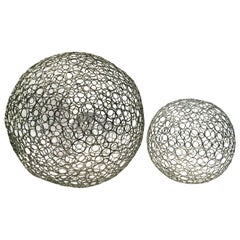 Cool Pair of Artisan Made Wire Sphere Sculptures