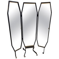 Cool Retro Midcentury 3-Panelled Dressing Mirror-Italian