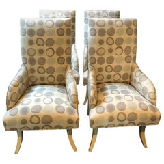 Cool Set of 4 Custom Dining Chairs with Donghia Upholstery
