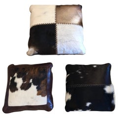 Cool Trio or Set of Mid-Century Modern Cow Hide and Leather Custom Pillows