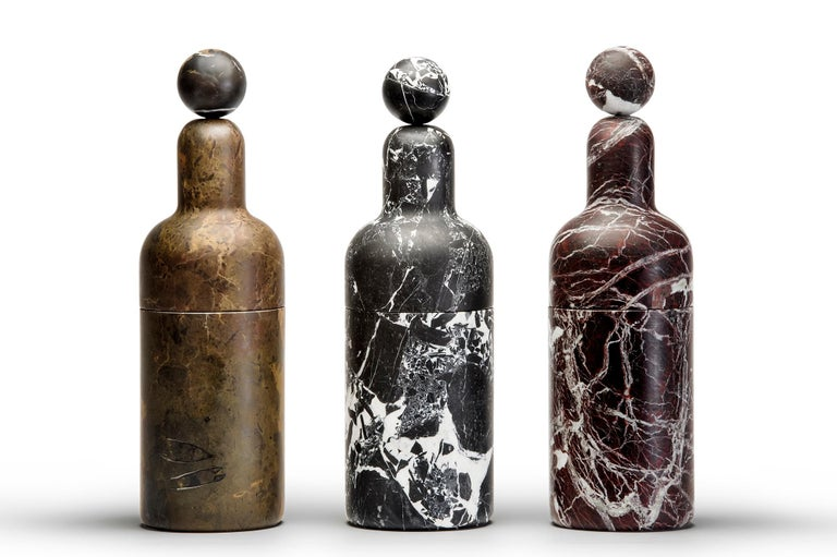 Brushed Coolers E, Bottle Cooler in Marble and Brass by Pietro Russo for Editions Milano For Sale