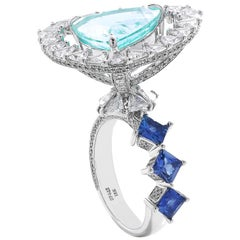 Coomi 18 Karat White Gold Floating Paraiba and Diamond Cocktail Ring