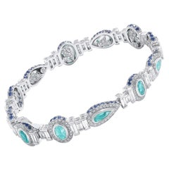 Coomi 18 Karat White Gold Paraiba, Diamond, and Sapphire Bracelet