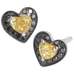 Coomi 18 Karat Vivid Orange with Black Diamonds Heart Studs