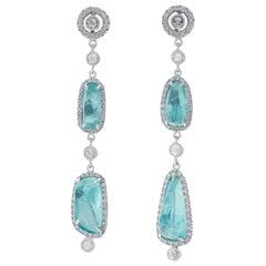 Coomi 18K White Gold Paraiba Tourmaline and Diamond Earrings