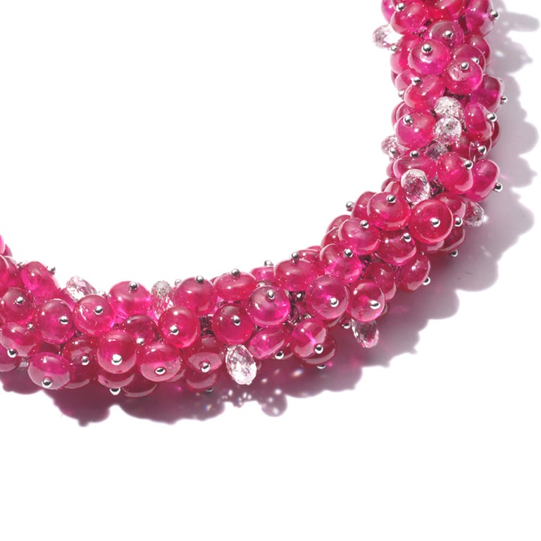 COOMI Trinity collection bracelet with 93.74cts ruby beads and 9.77cts diamonds.