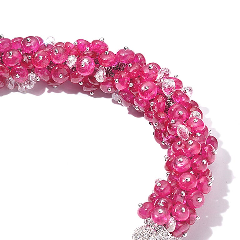 Coomi 18 Karat White Gold Ruby and Diamond Bracelet For Sale 1