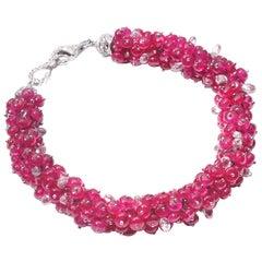 Coomi 18 Karat White Gold Ruby and Diamond Bracelet