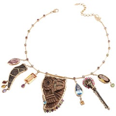 Coomi 20 Karat Gold Ancient Artifacts Charm Necklace with Multi-Gemstones
