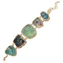 Coomi 20 Karat Gold Ancient Roman Glass Diamond Bracelet