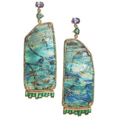 Coomi 20 Karat Gold Ancient Roman Glass Earrings