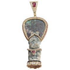Coomi 20 Karat Gold Antiquity Diamond, Ruby, and Opal Pendant