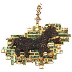 Coomi 20 Karat Gold Roman Bronze Horse Emerald Pendant