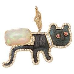 Coomi 20K Antique Feline Pendant with Diamonds, Opal, Emerald, and Sapphire