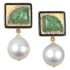 Coomi 20K Carved Tsavorite, White Pearl, and Diamond Earrings