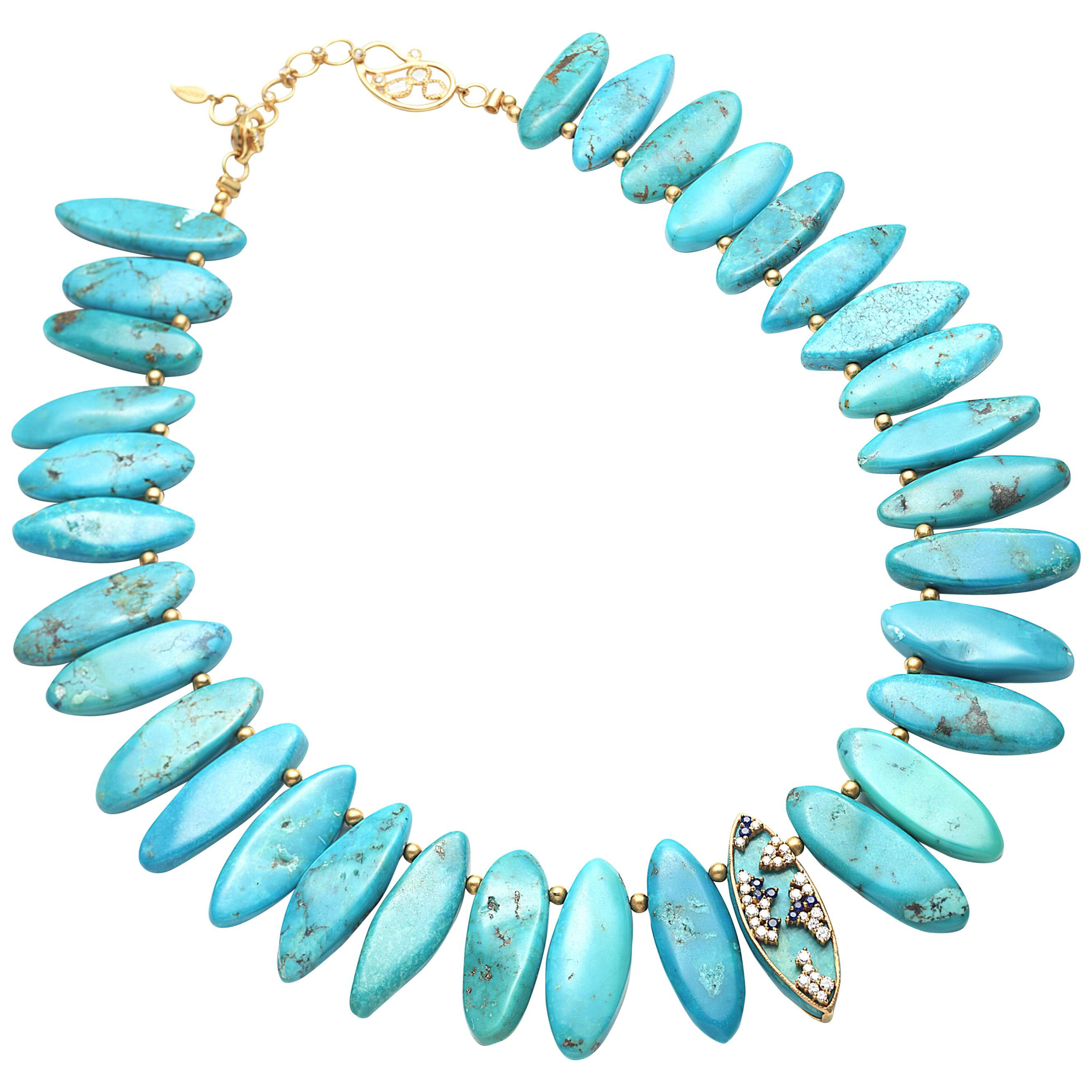 Coomi 20K Gold, Turquoise, Sapphire, Diamond Necklace