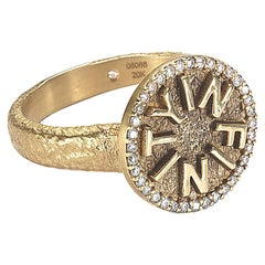 """Coomi 20K """"Infinity"""" Ring with Diamonds and Enamel"""
