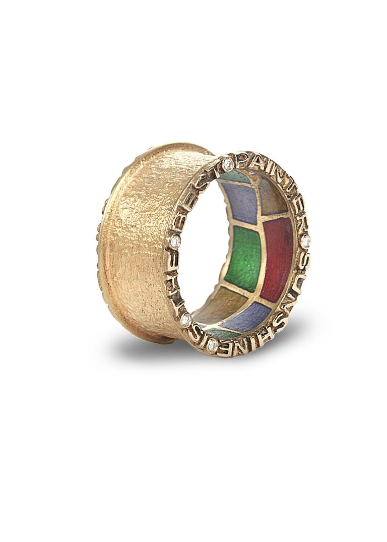 Hand made Coomi Sagrada collection band ring set in 20K yellow gold with 0.10cts diamond accents and stained glass-like multicolor enamel gallery.   Famous Antonio Gaudi quotes