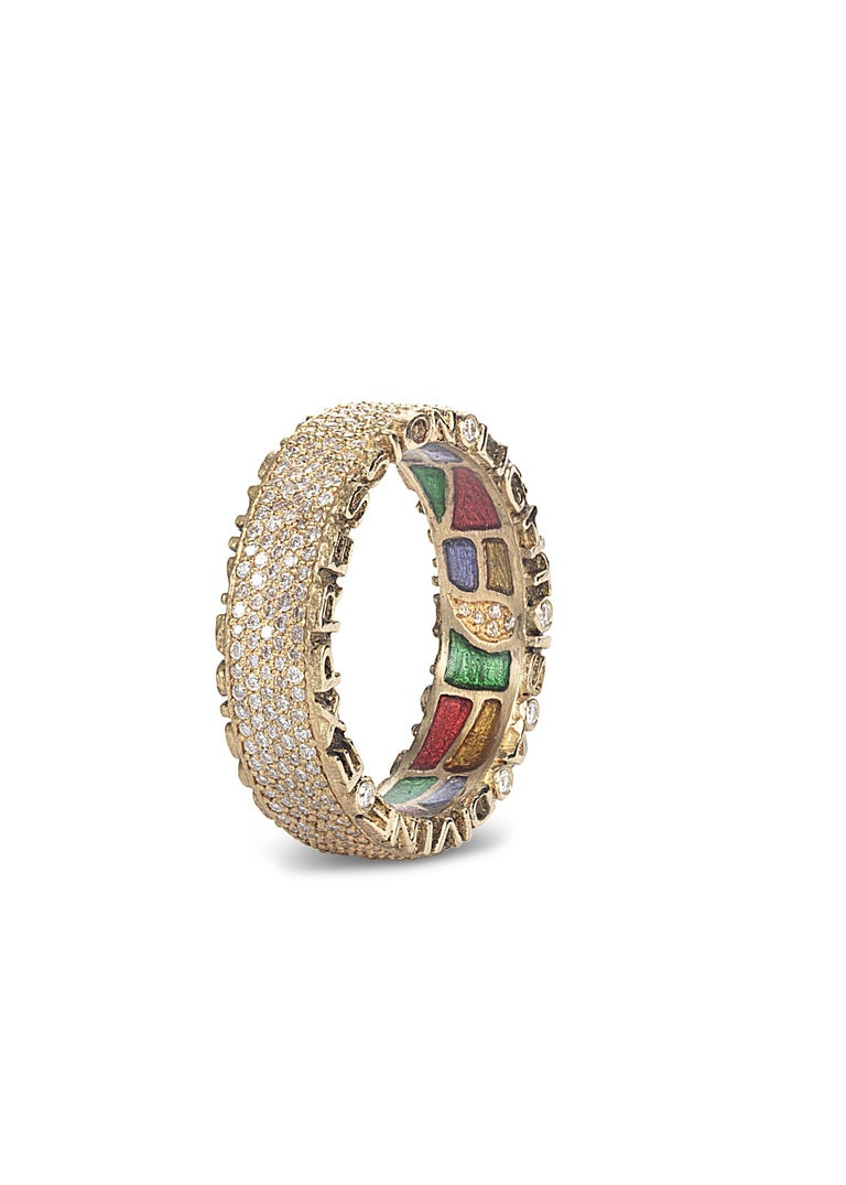 Hand made Coomi Sagrada collection band ring set in 20K yellow gold with 1.12cts pavé diamonds and stained glass-like multicolor enamel gallery.   Famous Antonio Gaudi quotes