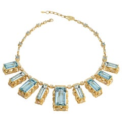 Coomi Affinity Aquamarine and Opal Statement Necklace in 20 Karat Gold