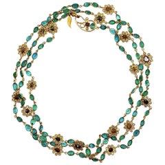 Coomi Affinity Emerald Flower Necklace in 20 Karat Gold