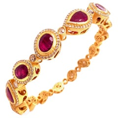 Coomi Affinity Ruby and Diamond Bracelet Set in 20 Karat Gold