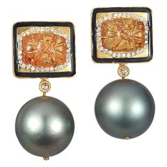 Coomi Carved Mandarin Garnet Gray South Sea Pearl Diamond 20Kt Gold Earrings