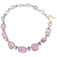 COOMI Carved Morganite, Aquamarine and Diamond Necklace in 20 Karat Yellow Gold