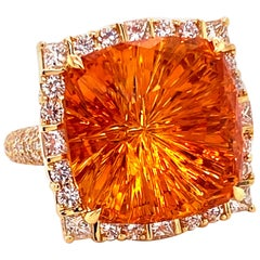 COOMI Madeira Citrine and Diamond Cocktail Ring Set in 20 Karat Yellow Gold