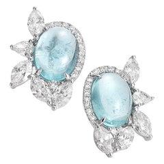 Coomi Paraiba 18 Karat White Gold Stud Earrings