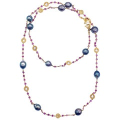 Coomi South Sea Pearl, Pink Sapphire and Diamond Necklace