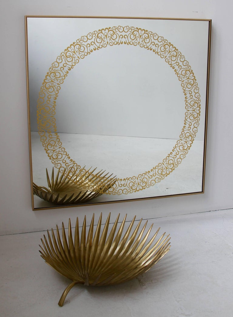 Unique Cooper Mirror - 24-Carats Gold Hand-Guilded Etched Pattern & Brass Frame For Sale 2