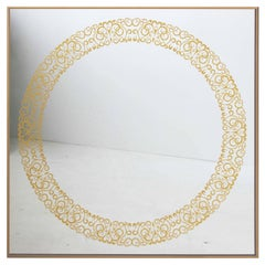 Cooper Mirror with 24-Carats Gold Hand-Guilded Etched Pattern and Brass Frame