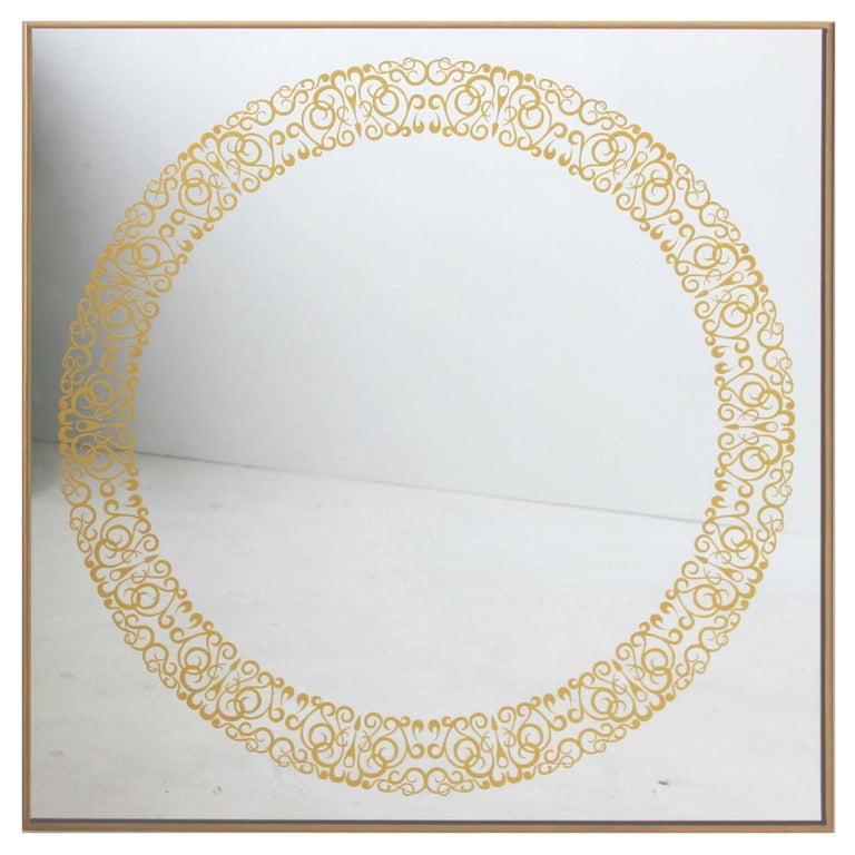 Unique Cooper Mirror - 24-Carats Gold Hand-Guilded Etched Pattern & Brass Frame For Sale