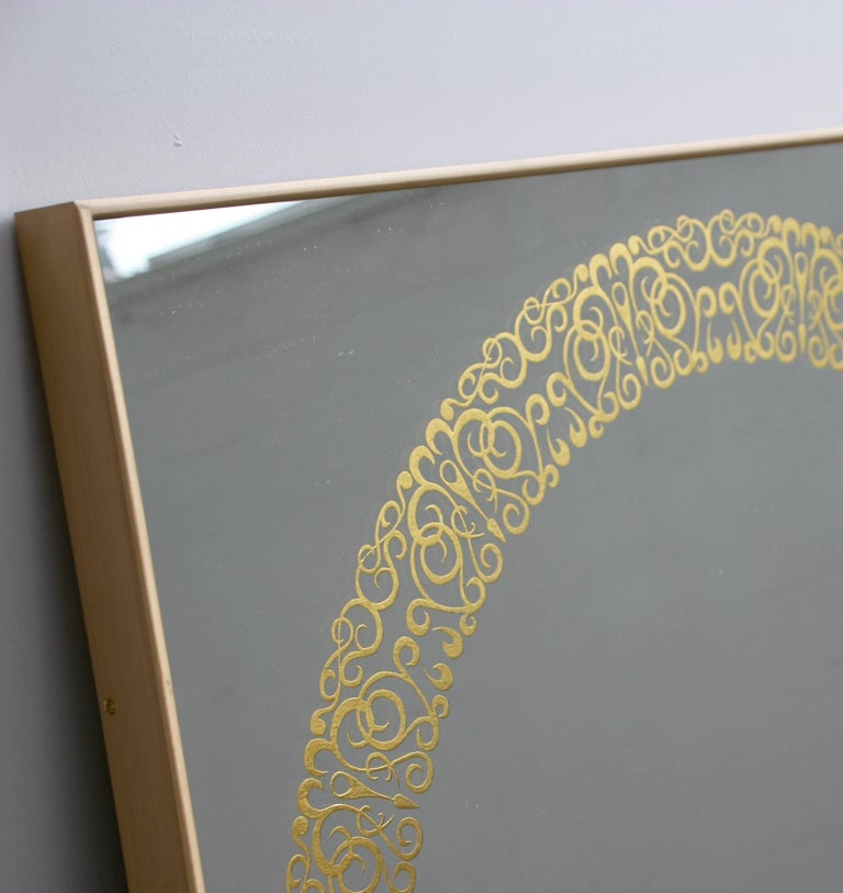Unique Cooper Mirror - 24-Carats Gold Hand-Guilded Etched Pattern & Brass Frame For Sale 1