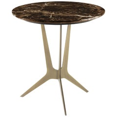Cooper Side Table with Bronze Metal Finish Base and Marble Top, Roberto Cavalli