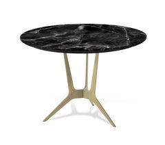 Cooper Side Table with Bronze Metal Finish & Dark Marble Top by Roberto Cavalli