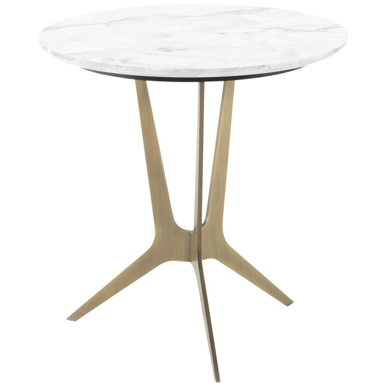 Cooper Side Table with Bronze Metal Finish & Light Marble Top by Roberto Cavalli For Sale