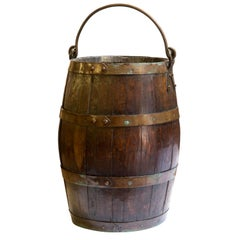 Coopered Oak and Brass Bucket, circa 1900