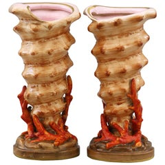 Copeland English Pair of Shell and Coral Porcelain Vases, circa 1870