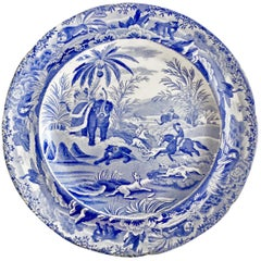 "Copeland & Garrett Pearlware Plate, Blue & White ""Death Of The Bear"", 1833-1847"