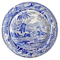 "Copeland & Garrett Plate, Blue and White Transfer ""Death Of The Bear"", 1833-1847"